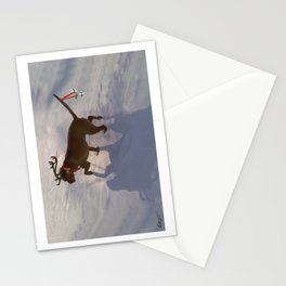 """""""DASHING THROUGH THE SNOW ...Christmas PLaY-Do'LPH"""" from the photo series""""My dog, PLaY-DoH"""" Stationery Cards"""