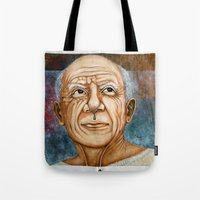 pablo picasso Tote Bags featuring Pablo Picasso by Michael Cu Fua