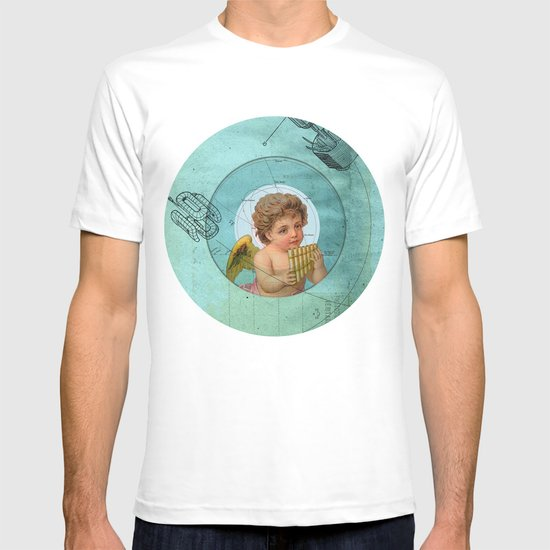 Angel playing music in space T-shirt