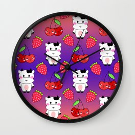 Cute funny sweet adorable happy baby cows, little cherries and red ripe summer strawberries cartoon fantasy orange purple pattern design Wall Clock