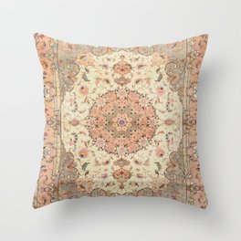 North-West Persia Tabriz Old Century Authentic Colorful Blush Peach Peachy Vintage Patterns Throw Pillow