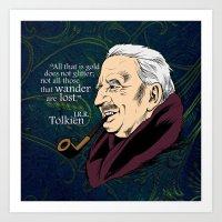 tolkien Art Prints featuring JRR Tolkien by Cellar Door Books, Ltd.