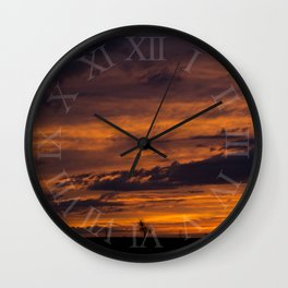 Orange and Purple Cloudscape Wall Clock