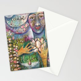 Breathe, Pause, Listen Stationery Cards