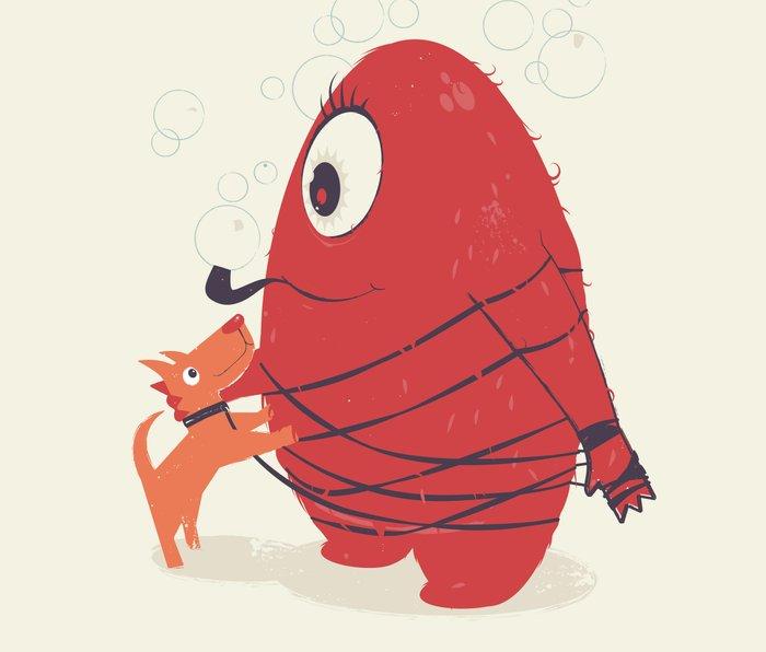 Cyclopes Monster Blob & Orange Dog Metal Travel Mug