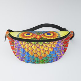 Colorful Rainbow Owl Fanny Pack