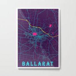 Ballarat Neon City Map, Ballarat Minimalist City Map Art Print Metal Print