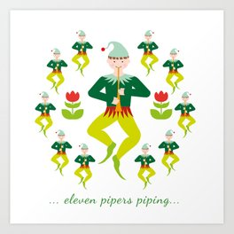 12 Days of Christmas - Eleven Pipers Piping Art Print