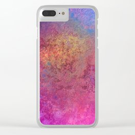 Copper Mixed Media Painting On Canvas Under UV Spectrum Lightbulb Clear iPhone Case