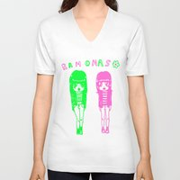 ramones V-neck T-shirts featuring Ramonas by IvyPowers