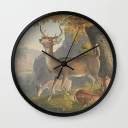 Vintage Illustration of a White Tail Deer (1830) Wall Clock
