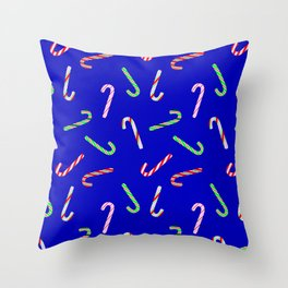 Christmas and Hanukkah Holiday Candy Cane Colorful Pattern Throw Pillow