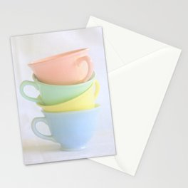 Pastel Tea Cup Stack Stationery Cards