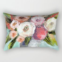 Peach and White Roses Rectangular Pillow