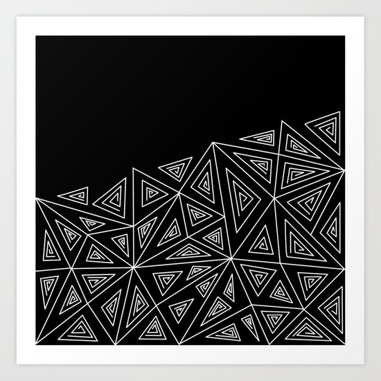 Abstract black and white pattern.Triangles 2 . Art Print