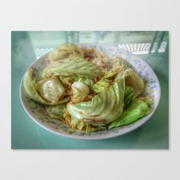 Stir-fry homemade organic Cabbage with chili pepper and garlic in oyster sauce. Canvas Print
