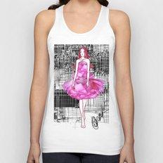 My rose dress fashion illustration concept. Unisex Tank Top