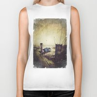 rowing Biker Tanks featuring Rugged fisherman by HappyMelvin