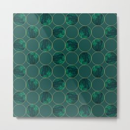 Emerald Marble Geometric Golden Circular Pattern Metal Print