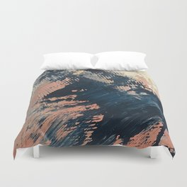 Hidden Gem [3]: an abstract mixed media piece in pink, blue, gold and white Duvet Cover