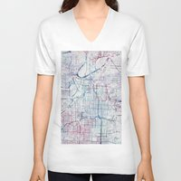 kansas V-neck T-shirts featuring Kansas city map by MapMapMaps.Watercolors