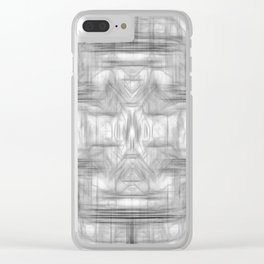 psychedelic graffiti skull art abstract in black and white Clear iPhone Case