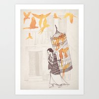frida Art Prints featuring Frida by David Fleck