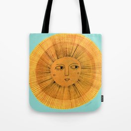 Sun Drawing - Gold and Blue Tote Bag