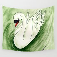 swan Wall Tapestries featuring Swan by JoJo Seames