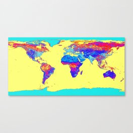 world mAP Colorful Canvas Print