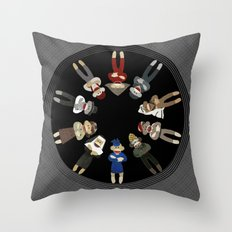Sock Monkeys of the World Throw Pillow