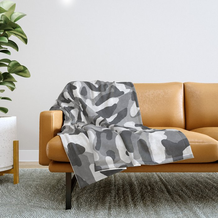 Grey Gray Camo Camouflage Throw Blanket
