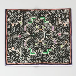 Song for Good Work - Traditional Shipibo Art - Indigenous Ayahuasca Patterns Throw Blanket