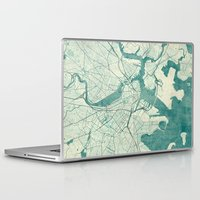 vintage map Laptop & iPad Skins featuring Boston Map Blue Vintage by City Art Posters