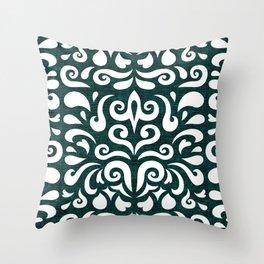 cadence damask - dark teal Throw Pillow