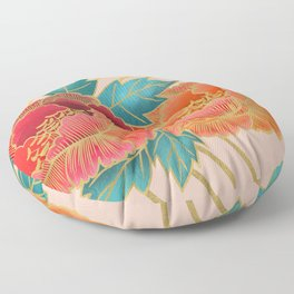 Peonies and Gold Stripes - Pink and Orange Floor Pillow