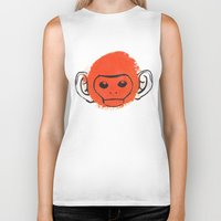 monkey island Biker Tanks featuring Monkey by James White