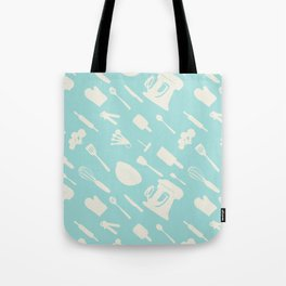In The Kitchen — Turquoise Tote Bag