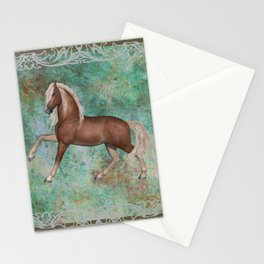 Horse On Green Brown Background With Border Stationery Cards