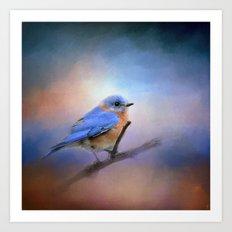 The Happiest Blue - Bluebird Art Print