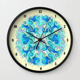 Seamless Wave Spiral Abstract Pattern Wall Clock