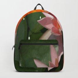 Beautiful Peach Waterlily Vector Backpack