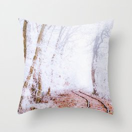 Railroad through a snowy forest watercolor painting Throw Pillow