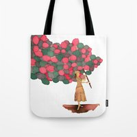 ballon Tote Bags featuring Ballon Girl by Kwelts1