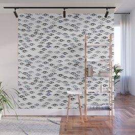 Pattern with stylized eyes. Monochrome. Wall Mural