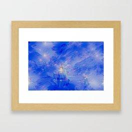 The Teapot Village - Blue Japanese Lighthouse Village Artwork Framed Art Print