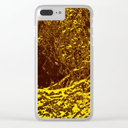 Gold metal texture intricate pattern waves beer fluid abstract background painting Clear iPhone Case