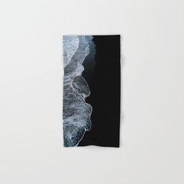 Waves on a black sand beach in iceland - minimalist Landscape Photography Hand & Bath Towel