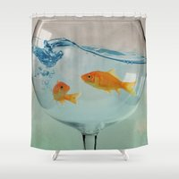 glass Shower Curtains featuring Goldfish glass by Vin Zzep