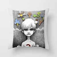 superheroes Throw Pillows featuring Superheroes SF by Otto Björnik